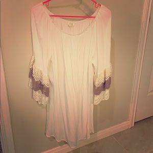 Umgee lace ruffled bell sleeve dress